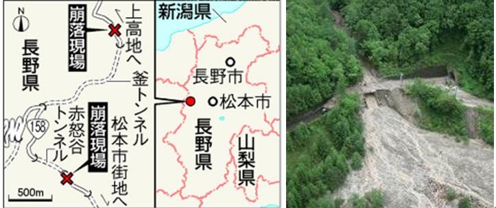 土石流発生場所(釜トンネル)