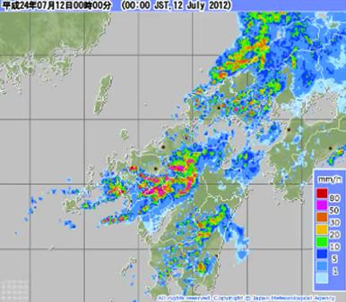 九州北部豪雨のアメダス